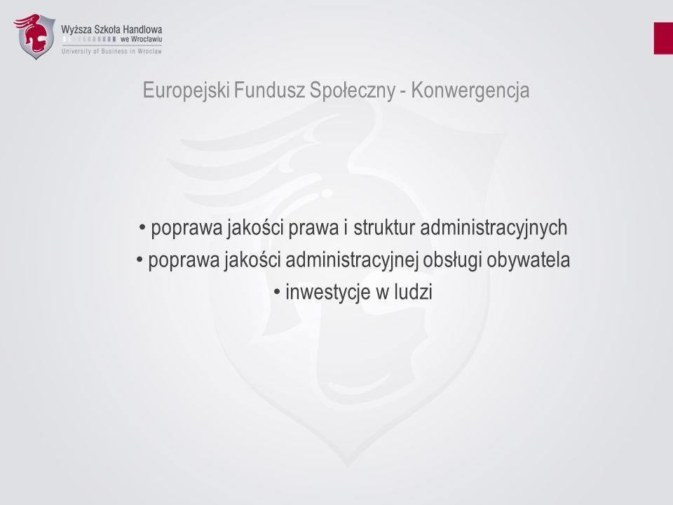 Europejski Fundusz Społeczny - Konwergencja poprawa jakości prawa i struktur administracyjnych poprawa jakości administracyjnej obsługi obywatela inwe