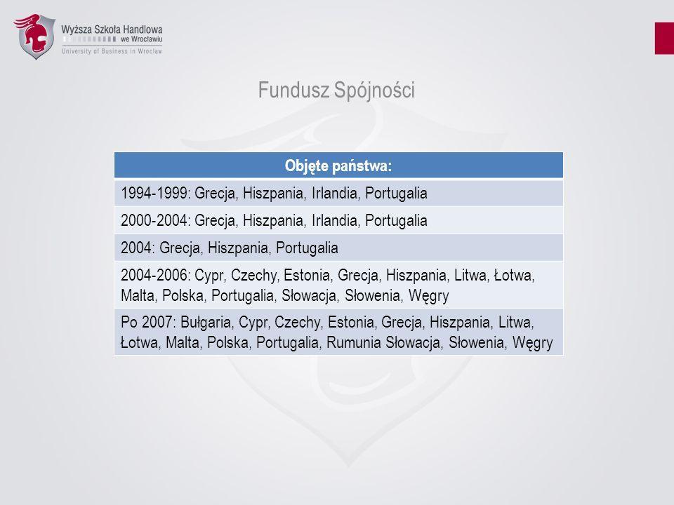Fundusz Spójności Objęte państwa: 1994-1999: Grecja, Hiszpania, Irlandia, Portugalia 2000-2004: Grecja, Hiszpania, Irlandia, Portugalia 2004: Grecja,