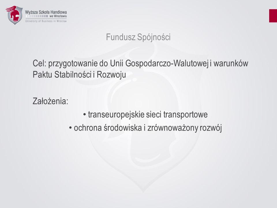 Fundusz Spójności Cel: przygotowanie do Unii Gospodarczo-Walutowej i warunków Paktu Stabilności i Rozwoju Założenia: transeuropejskie sieci transporto