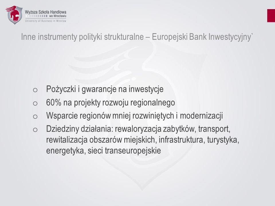 Inne instrumenty polityki strukturalne – Europejski Bank Inwestycyjny` o Pożyczki i gwarancje na inwestycje o 60% na projekty rozwoju regionalnego o W