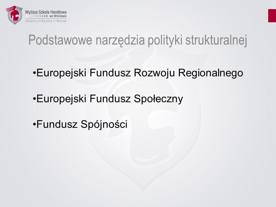 Podstawowe narzędzia polityki strukturalnej Europejski Fundusz Rozwoju Regionalnego Europejski Fundusz Społeczny Fundusz Spójności