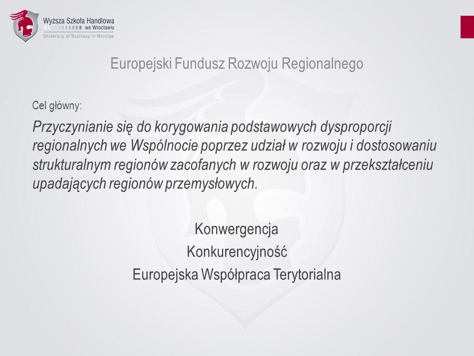Europejski Fundusz Rozwoju Regionalnego Cel główny: Przyczynianie się do korygowania podstawowych dysproporcji regionalnych we Wspólnocie poprzez udzi