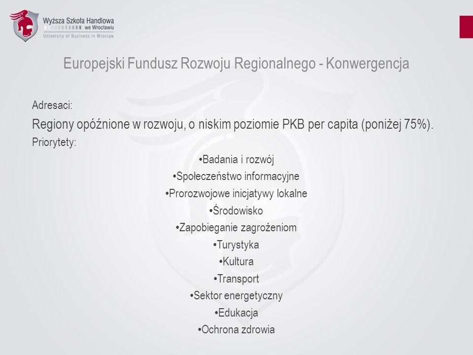 Europejski Fundusz Rozwoju Regionalnego - Konkurencyjność Adresaci: Regiony opóźnione w rozwoju, o niskim poziomie PKB per capita (poniżej 75%) oraz kraje o poziomie PKB per capita poniżej 75% średniej dla EU-15 Priorytety: Innowacje i gospodarka oparta na wiedzy Zapobieganie zanieczyszczeniu powietrza i innym zagrożeniom Dostęp do usług komunikacyjnych