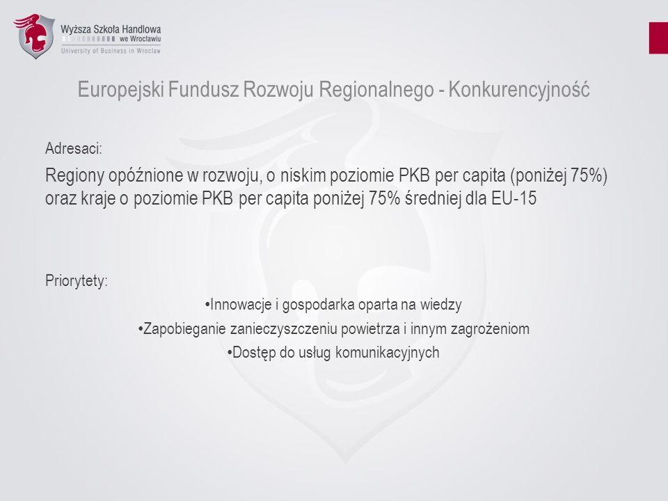 Europejski Fundusz Rozwoju Regionalnego - Konkurencyjność Adresaci: Regiony opóźnione w rozwoju, o niskim poziomie PKB per capita (poniżej 75%) oraz k
