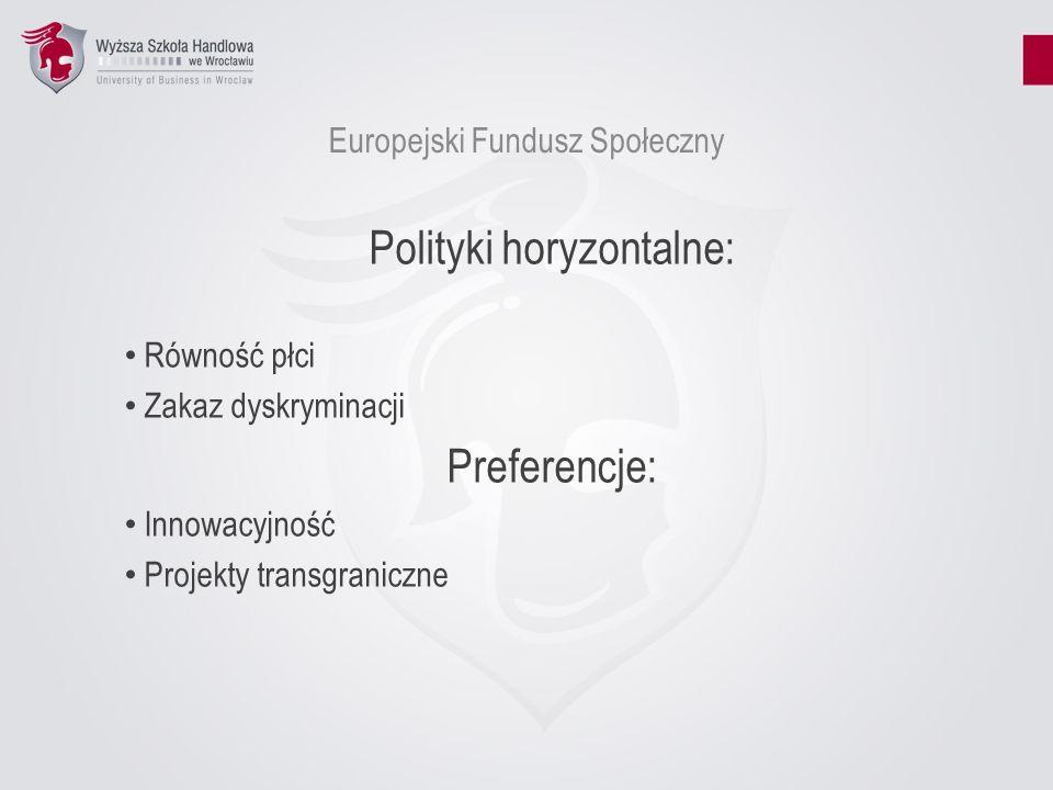 Europejski Fundusz Społeczny Polityki horyzontalne: Równość płci Zakaz dyskryminacji Preferencje: Innowacyjność Projekty transgraniczne