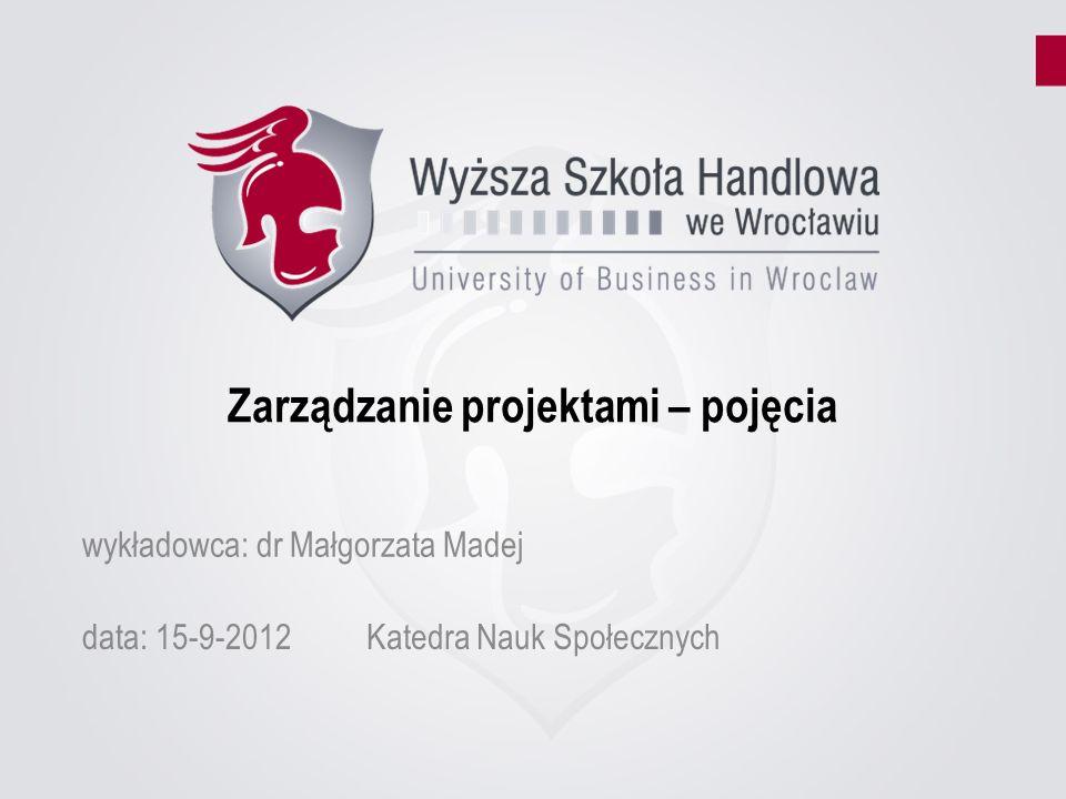 Zarządzanie projektami – pojęcia data: 15-9-2012Katedra Nauk Społecznych wykładowca: dr Małgorzata Madej