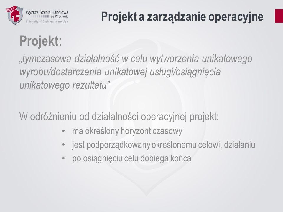 Projekt a zarządzanie operacyjne Projekt: tymczasowa działalność w celu wytworzenia unikatowego wyrobu/dostarczenia unikatowej usługi/osiągnięcia unik