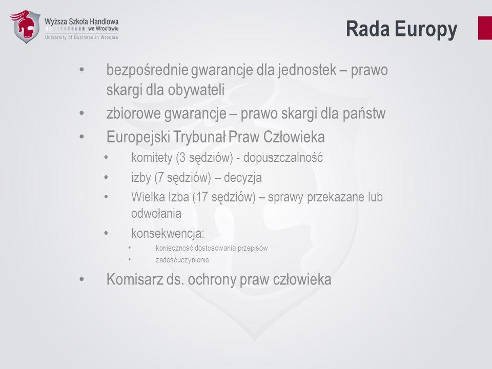 Rada Europy bezpośrednie gwarancje dla jednostek – prawo skargi dla obywateli zbiorowe gwarancje – prawo skargi dla państw Europejski Trybunał Praw Cz