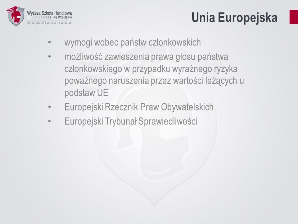 Unia Europejska wymogi wobec państw członkowskich możliwość zawieszenia prawa głosu państwa członkowskiego w przypadku wyraźnego ryzyka poważnego naru