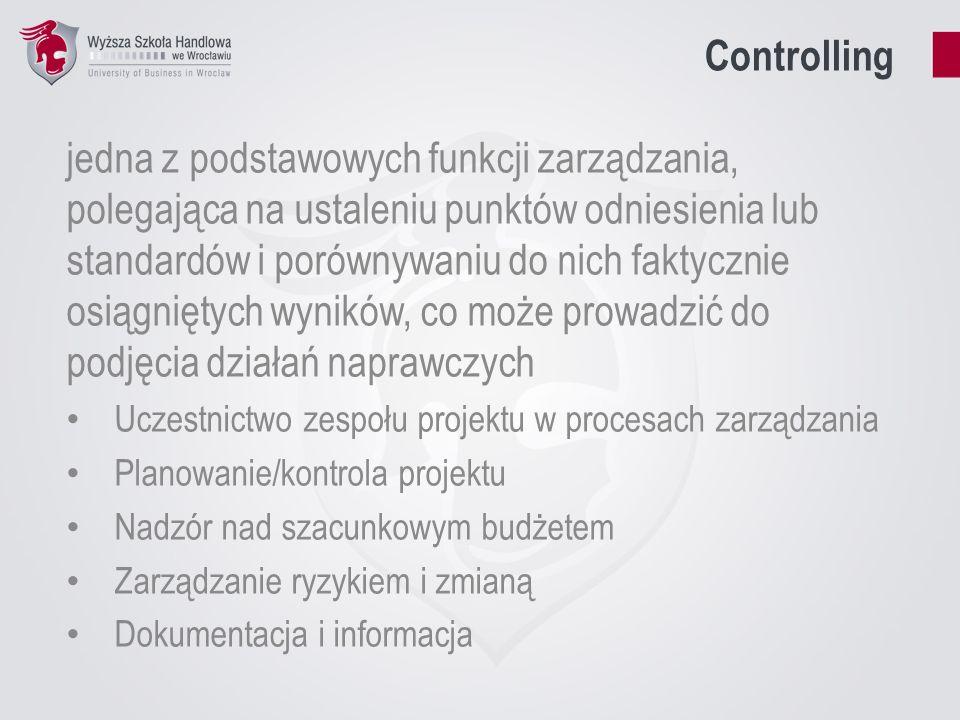 Controlling jedna z podstawowych funkcji zarządzania, polegająca na ustaleniu punktów odniesienia lub standardów i porównywaniu do nich faktycznie osiągniętych wyników, co może prowadzić do podjęcia działań naprawczych Uczestnictwo zespołu projektu w procesach zarządzania Planowanie/kontrola projektu Nadzór nad szacunkowym budżetem Zarządzanie ryzykiem i zmianą Dokumentacja i informacja