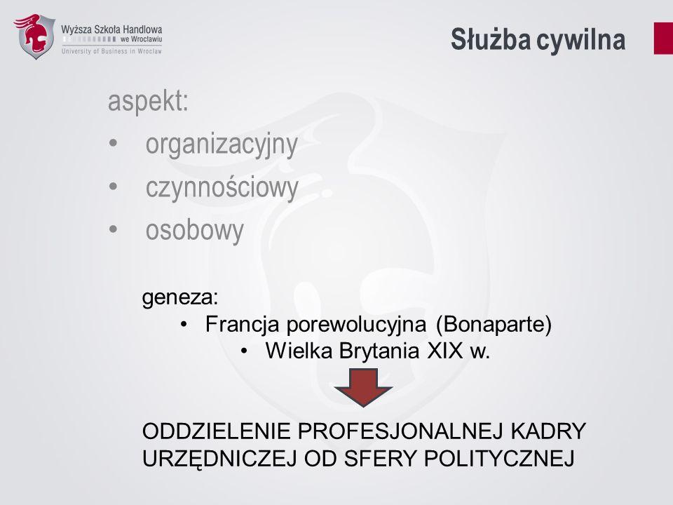 Model biurokracji – Max Weber racjonalna i efektywna struktura układ racjonalnych zasad, praw i obowiązków poszczególnych instytucji rutynizacja zadań i procedur depersonalizacja (rola, a nie prestiż) hierarchizacja absolutna odrębność od sfery decyzji politycznych