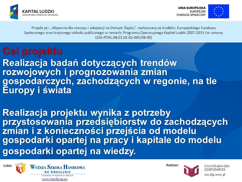 Projekt pt.: Wsparcie dla rozwoju i adaptacji na Dolnym Śląsku, realizowany ze środków Europejskiego Funduszu Społecznego oraz krajowego wkładu publicznego w ramach, Programu Operacyjnego Kapitał Ludzki 2007-2013 (nr umowy UDA-POKL.08.01.02-02-065/08-00) Cel projektu Realizacja badań dotyczących trendów rozwojowych i prognozowania zmian gospodarczych, zachodzących w regonie, na tle Europy i świata Realizacja projektu wynika z potrzeby przystosowania przedsiębiorstw do zachodzących zmian i z konieczności przejścia od modelu gospodarki opartej na pracy i kapitale do modelu gospodarki opartej na wiedzy.