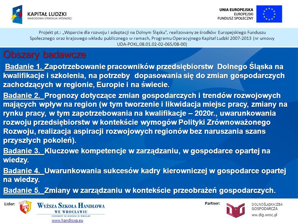 Projekt pt.: Wsparcie dla rozwoju i adaptacji na Dolnym Śląsku, realizowany ze środków Europejskiego Funduszu Społecznego oraz krajowego wkładu publicznego w ramach, Programu Operacyjnego Kapitał Ludzki 2007-2013 (nr umowy UDA-POKL.08.01.02-02-065/08-00) Obszary badawcze Badanie 1.