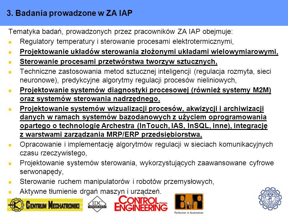 3. Badania prowadzone w ZA IAP Tematyka badań, prowadzonych przez pracowników ZA IAP obejmuje: Regulatory temperatury i sterowanie procesami elektrote