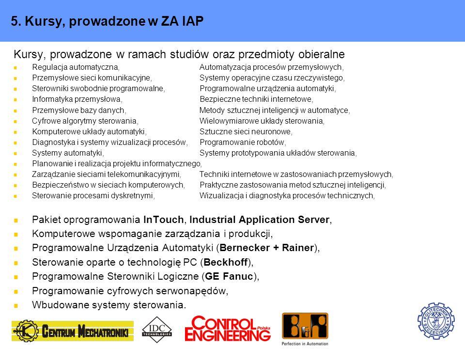 5. Kursy, prowadzone w ZA IAP Kursy, prowadzone w ramach studiów oraz przedmioty obieralne Regulacja automatyczna,Automatyzacja procesów przemysłowych