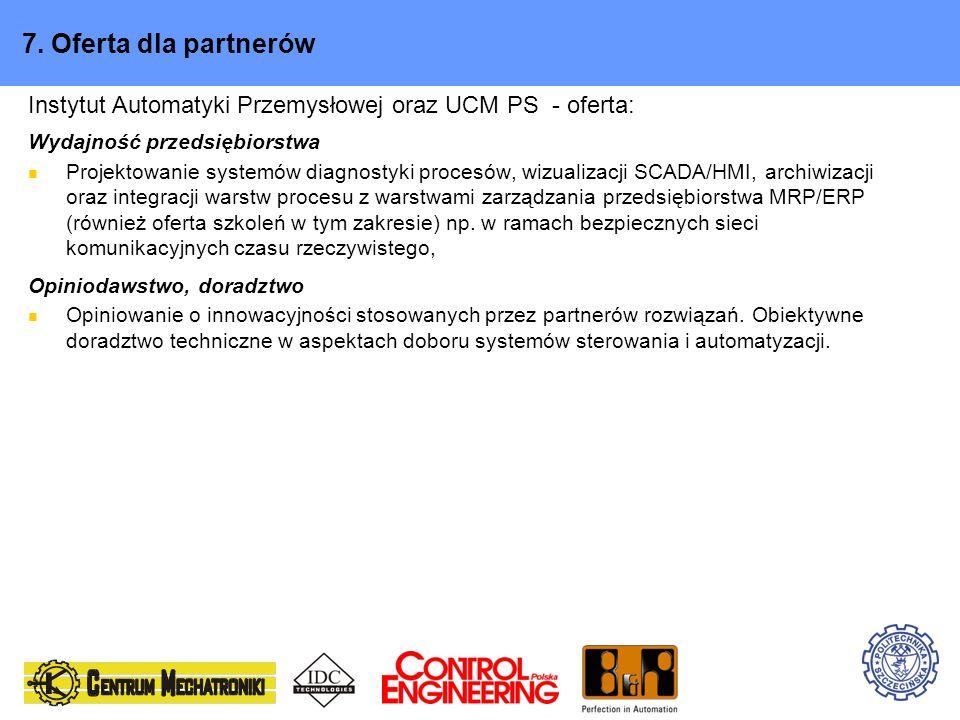 7. Oferta dla partnerów Instytut Automatyki Przemysłowej oraz UCM PS - oferta: Wydajność przedsiębiorstwa Projektowanie systemów diagnostyki procesów,