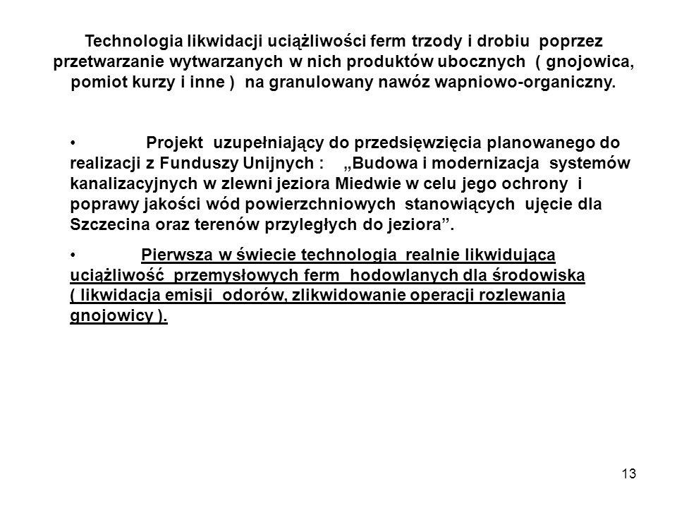 13 Technologia likwidacji uciążliwości ferm trzody i drobiu poprzez przetwarzanie wytwarzanych w nich produktów ubocznych ( gnojowica, pomiot kurzy i