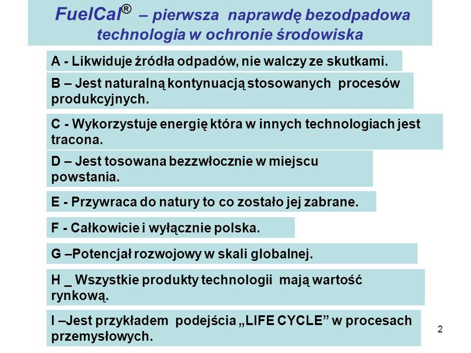 2 FuelCal ® – pierwsza naprawdę bezodpadowa technologia w ochronie środowiska A - Likwiduje źródła odpadów, nie walczy ze skutkami. B – Jest naturalną