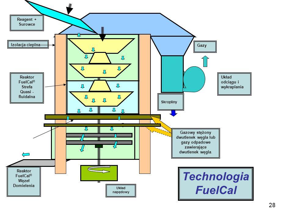 28 Reagent + Surowce Reaktor FuelCal ® Strefa Quasi - fluidalna Reaktor FuelCal ® Węzeł Domielenia Układ napędowy Układ odciągu i wykraplania Gazy Skr