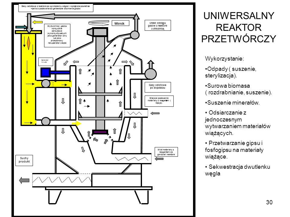 30 UNIWERSALNY REAKTOR PRZETWÓRCZY Wykorzystanie: Odpady ( suszenie, sterylizacja). Surowa biomasa ( rozdrabnianie, suszenie). Suszenie minerałów. Ods