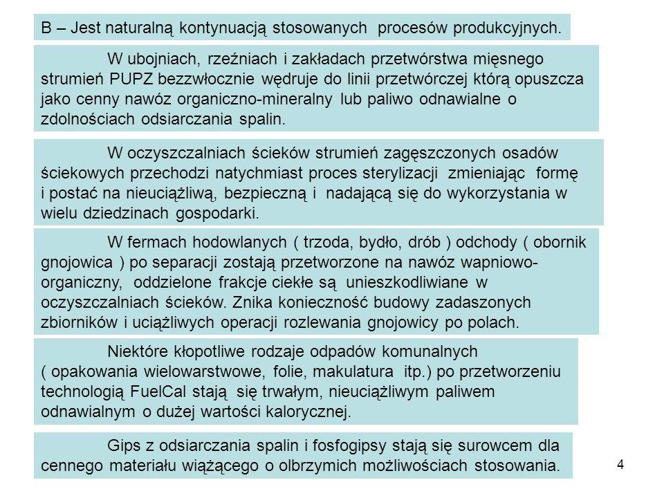 4 B – Jest naturalną kontynuacją stosowanych procesów produkcyjnych. W ubojniach, rzeźniach i zakładach przetwórstwa mięsnego strumień PUPZ bezzwłoczn