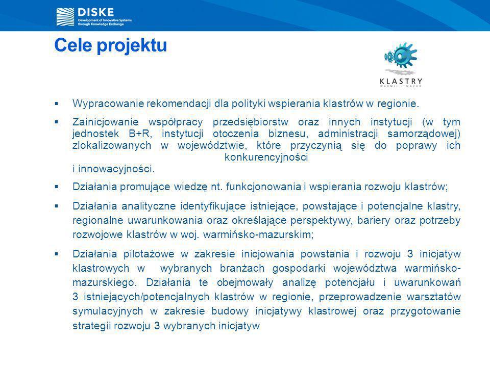 Cele projektu Wypracowanie rekomendacji dla polityki wspierania klastrów w regionie. Zainicjowanie współpracy przedsiębiorstw oraz innych instytucji (