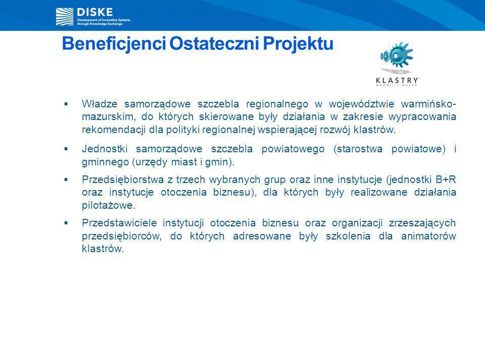 Władze samorządowe szczebla regionalnego w województwie warmińsko- mazurskim, do których skierowane były działania w zakresie wypracowania rekomendacj