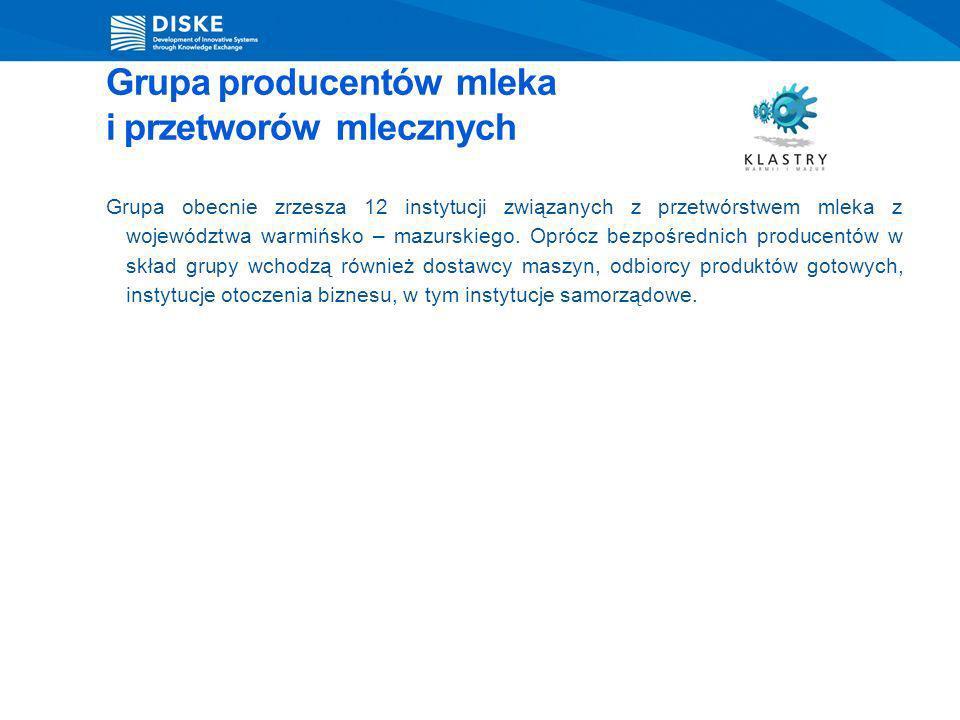 Grupa producentów mleka i przetworów mlecznych Grupa obecnie zrzesza 12 instytucji związanych z przetwórstwem mleka z województwa warmińsko – mazurski