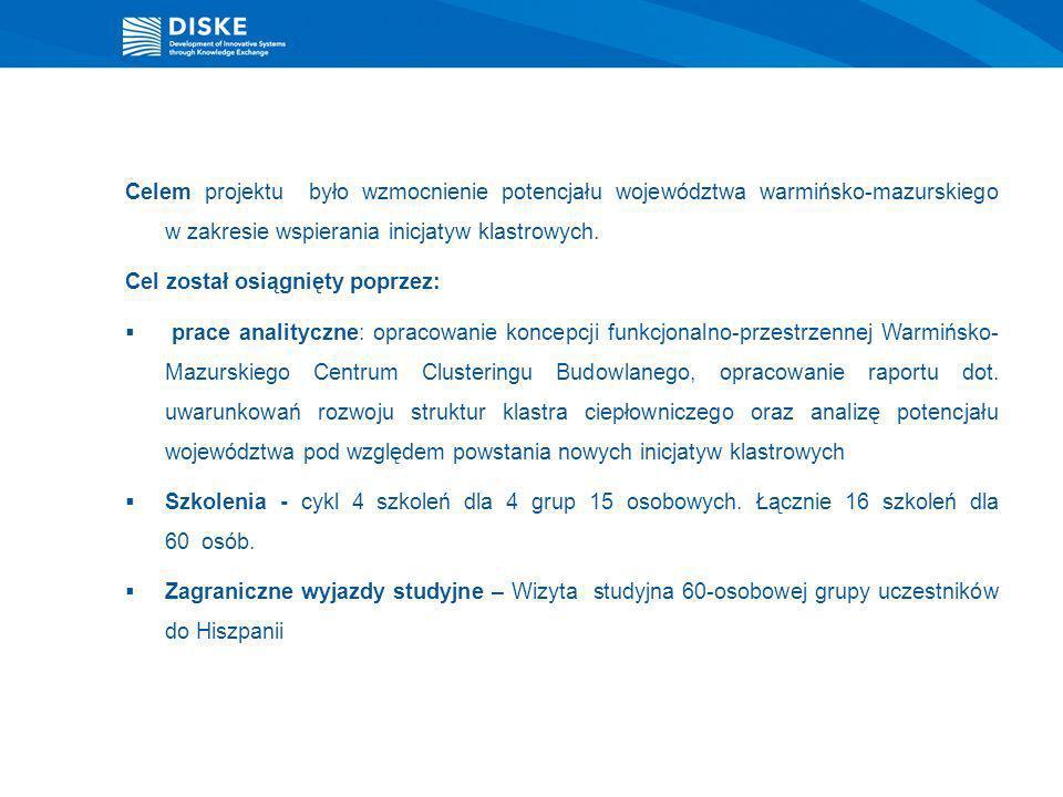 Celem projektu było wzmocnienie potencjału województwa warmińsko-mazurskiego w zakresie wspierania inicjatyw klastrowych. Cel został osiągnięty poprze