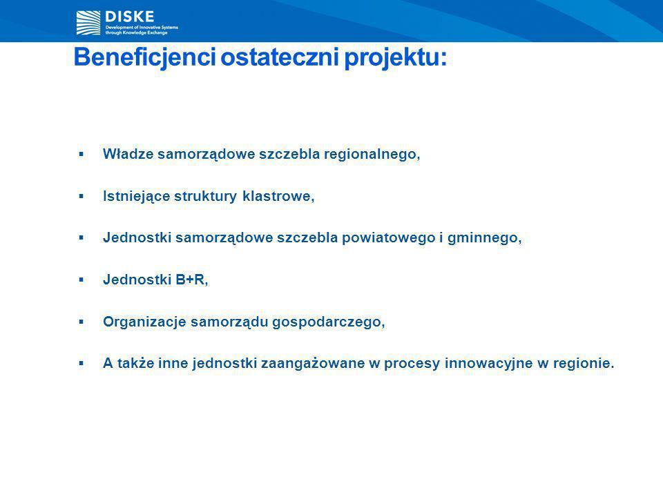 Beneficjenci ostateczni projektu: Władze samorządowe szczebla regionalnego, Istniejące struktury klastrowe, Jednostki samorządowe szczebla powiatowego