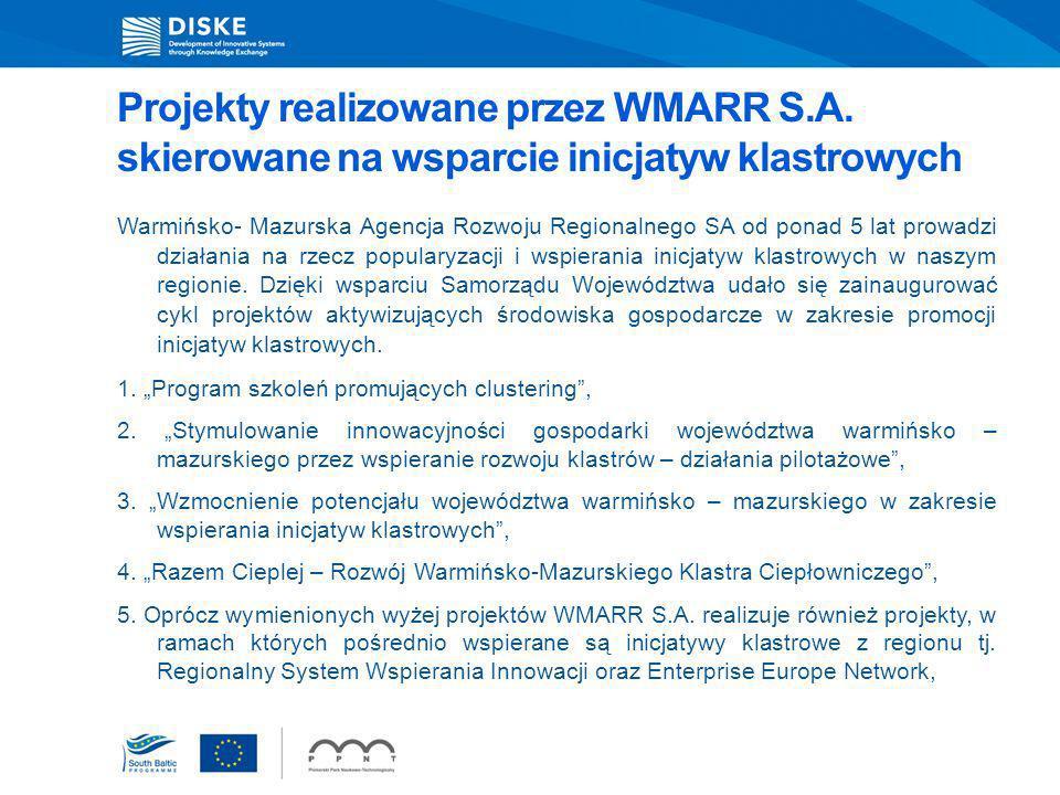 Projekty realizowane przez WMARR S.A. skierowane na wsparcie inicjatyw klastrowych Warmińsko- Mazurska Agencja Rozwoju Regionalnego SA od ponad 5 lat