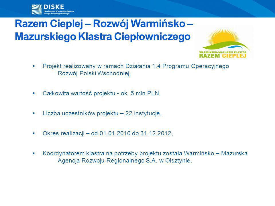 Razem Cieplej – Rozwój Warmińsko – Mazurskiego Klastra Ciepłowniczego Projekt realizowany w ramach Działania 1.4 Programu Operacyjnego Rozwój Polski W