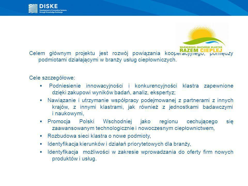 Celem głównym projektu jest rozwój powiązania kooperacyjnego, pomiędzy podmiotami działającymi w branży usług ciepłowniczych. Cele szczegółowe: Podnie