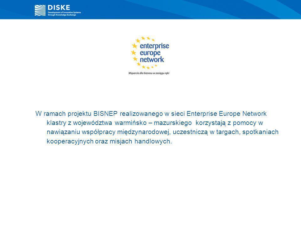 W ramach projektu BISNEP realizowanego w sieci Enterprise Europe Network klastry z województwa warmińsko – mazurskiego korzystają z pomocy w nawiązani