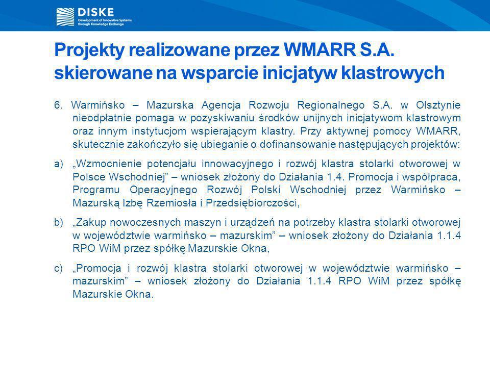 6. Warmińsko – Mazurska Agencja Rozwoju Regionalnego S.A. w Olsztynie nieodpłatnie pomaga w pozyskiwaniu środków unijnych inicjatywom klastrowym oraz