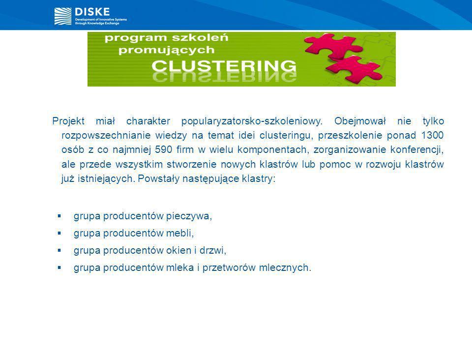 Realizacja projektu Program szkoleń promujących clustering rozpoczęła się w październiku 2005 r i trwała do grudnia 2007 r.