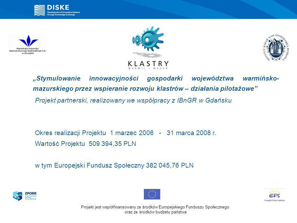 Stymulowanie innowacyjności gospodarki województwa warmińsko- mazurskiego przez wspieranie rozwoju klastrów – działania pilotażowe Projekt partnerski,