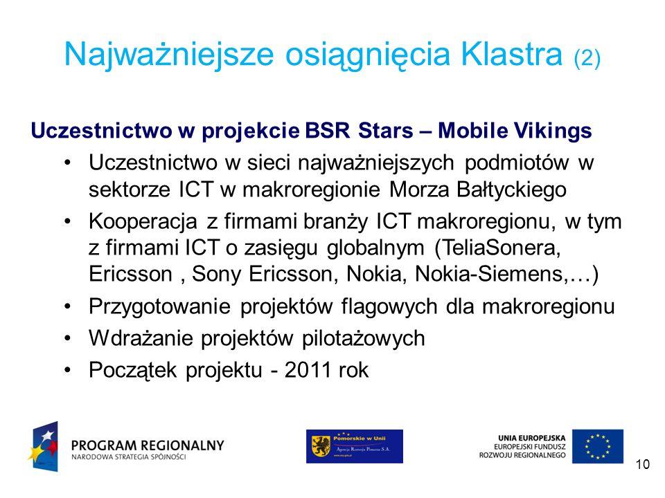 10 Najważniejsze osiągnięcia Klastra (2) Uczestnictwo w projekcie BSR Stars – Mobile Vikings Uczestnictwo w sieci najważniejszych podmiotów w sektorze
