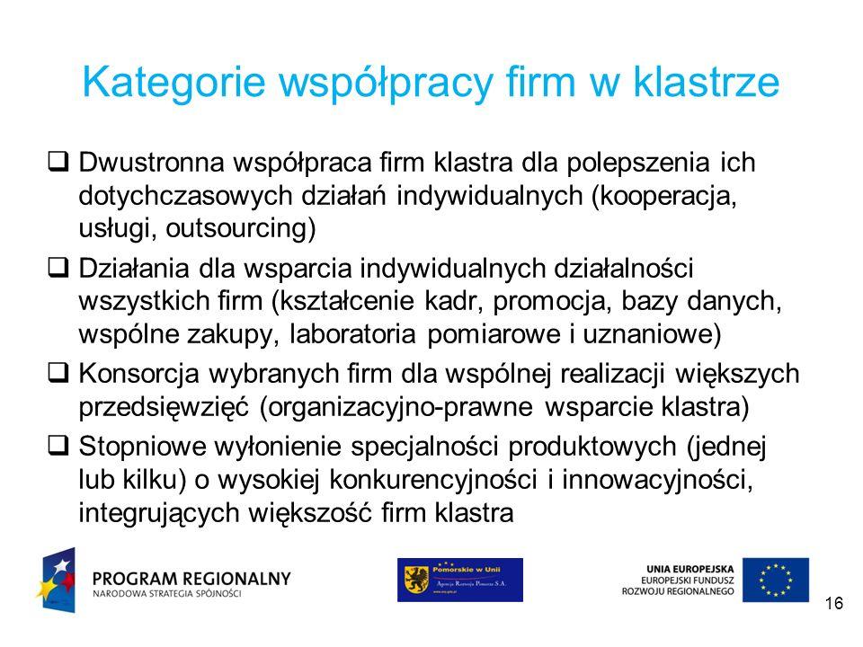 Kategorie współpracy firm w klastrze Dwustronna współpraca firm klastra dla polepszenia ich dotychczasowych działań indywidualnych (kooperacja, usługi