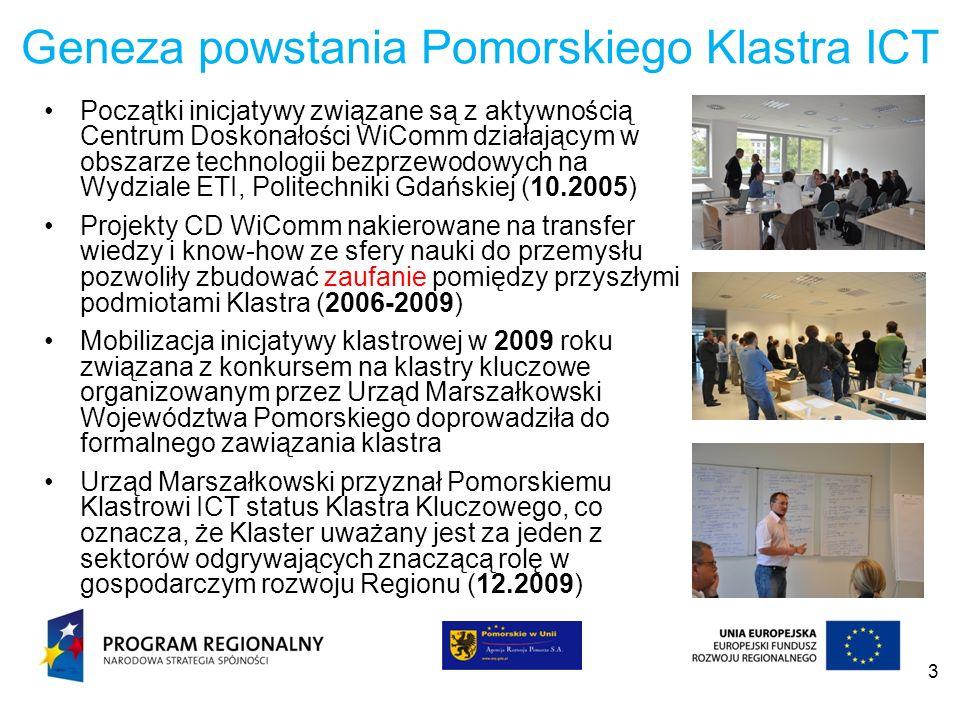 3 Geneza powstania Pomorskiego Klastra ICT Początki inicjatywy związane są z aktywnością Centrum Doskonałości WiComm działającym w obszarze technologi