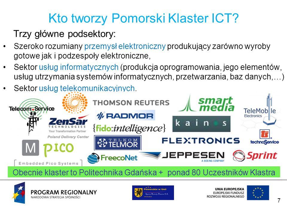 7 Kto tworzy Pomorski Klaster ICT? Trzy główne podsektory: Szeroko rozumiany przemysł elektroniczny produkujący zarówno wyroby gotowe jak i podzespoły