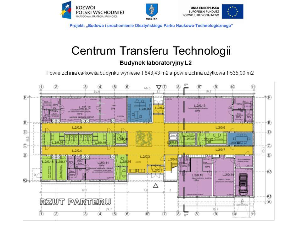 Budynek laboratoryjny L2 Powierzchnia całkowita budynku wyniesie 1 843,43 m2 a powierzchna użytkowa 1 535,00 m2 Centrum Transferu Technologii