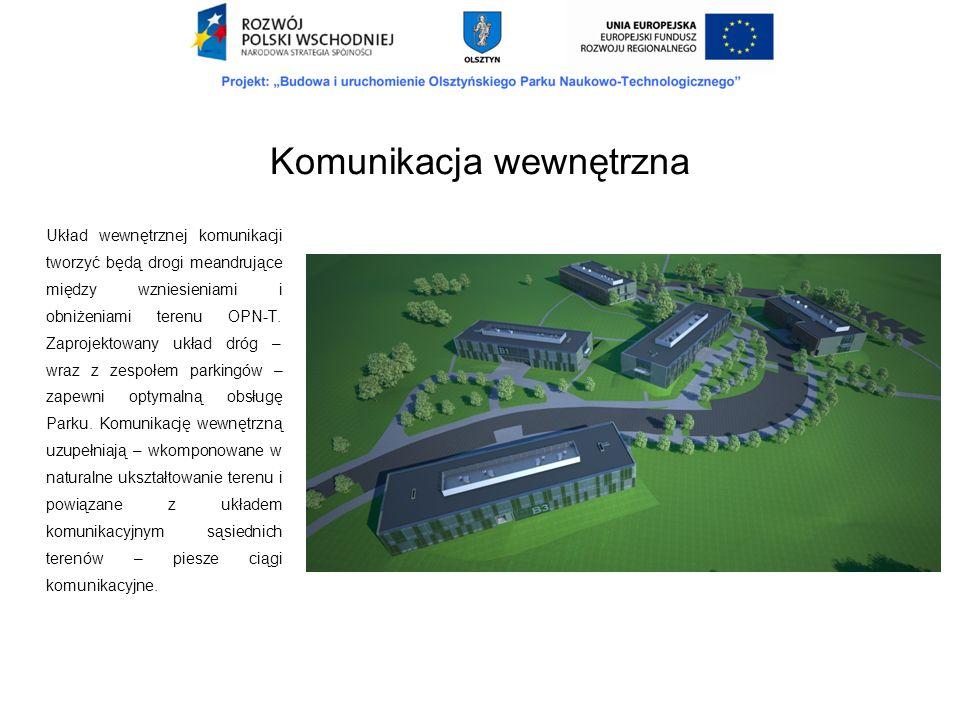 Układ wewnętrznej komunikacji tworzyć będą drogi meandrujące między wzniesieniami i obniżeniami terenu OPN-T. Zaprojektowany układ dróg – wraz z zespo
