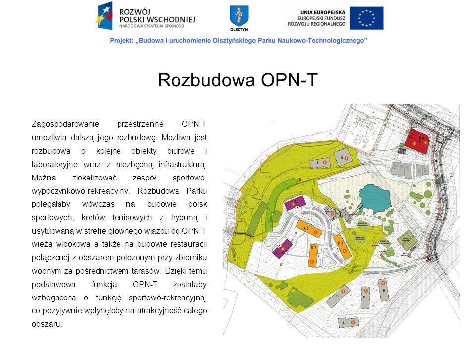 Zagospodarowanie przestrzenne OPN-T umożliwia dalszą jego rozbudowę. Możliwa jest rozbudowa o kolejne obiekty biurowe i laboratoryjne wraz z niezbędną