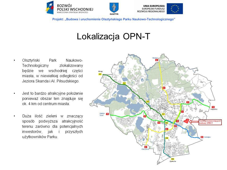 Olsztyński Park Naukowo- Technologiczny zlokalizowany będzie we wschodniej części miasta, w niewielkiej odległości od Jeziora Skanda i Al. Piłsudskieg