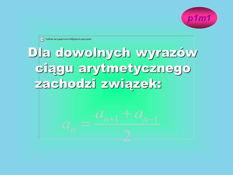 Dla dowolnych wyrazów ciągu arytmetycznego zachodzi związek: p1m1