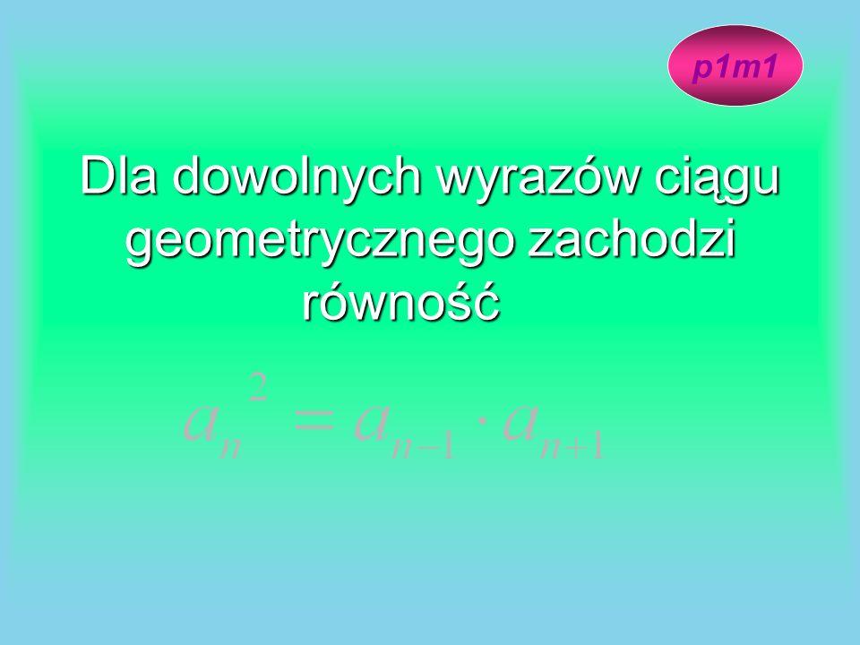 Dla dowolnych wyrazów ciągu geometrycznego zachodzi równość p1m1