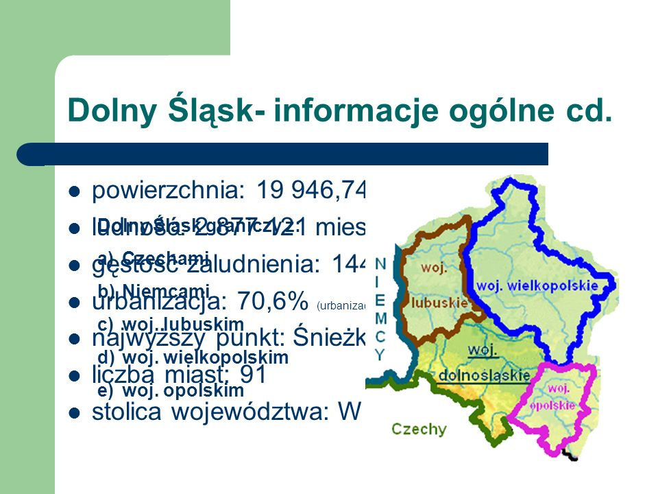 Dolny Śląsk- informacje ogólne cd. powierzchnia: 19 946,74 km² ludność: 2 877 121 mieszkańców gęstość zaludnienia: 144,24 mieszk./km² urbanizacja: 70,