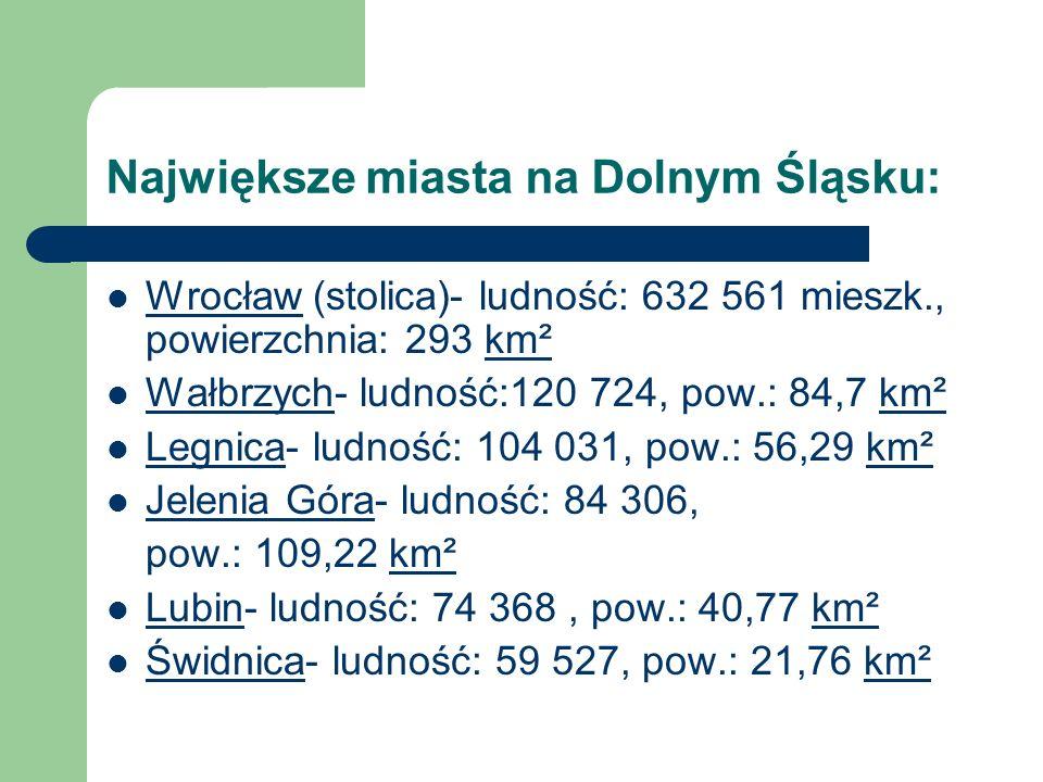 Największe miasta na Dolnym Śląsku: Wrocław (stolica)- ludność: 632 561 mieszk., powierzchnia: 293 km²km² Wałbrzych- ludność:120 724, pow.: 84,7 km²km