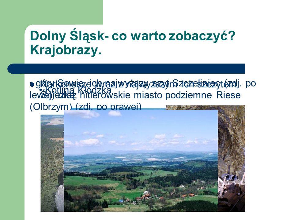 Dolny Śląsk- co warto zobaczyć? Krajobrazy. Karkonosze wraz z najwyższym ich szczytem Śnieżką góry Sowie, ich najwyższy szyt Szczeliniec (zdj. po lewe